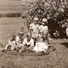 1941 - Voas and Vollenweider kids in Lawton - Marge, Dwaine and Don Voas, Marian holding Arlene; standing is Phyllis and Mavis Vollenweider