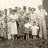 1940 - FL Voas family - Mrs. Tanner (?) holding JoAnn Voas; Pearl and Jerry McGuire; Jack and Tiny; Dick holding Dwaine; Gma Pearl and Bpa Frank holding David Smith; Fern and T Elmer Smith holding Mickey; Stan and Gene Smith standing in front